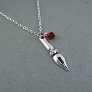 Silver Pen Nib Crystal Charm Necklace - Writer Gift - Author Gift