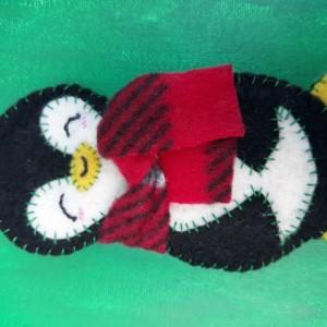 Christmas Tree Ornament, Felt Penguin Holiday Decoration