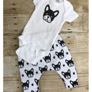 Boston Terrier pants and onesie infant outfit