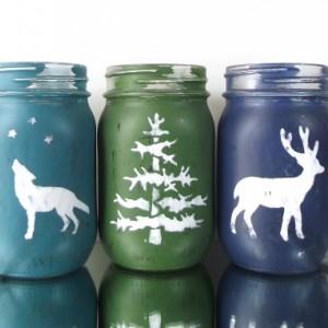 Woodland Decor, Hand Painted Mason Jars, Set of Three Jars