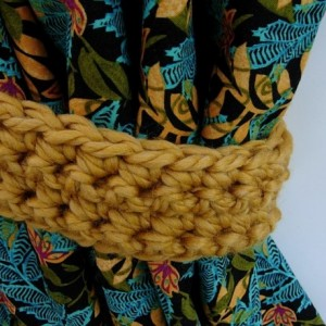 Gold Curtain Tie Backs, Solid Dark Yellow, One Pair of Tiebacks for Drapes, Handmade Crochet Knit, Simple, Basic, Thick, Ready to Ship in 2 Days
