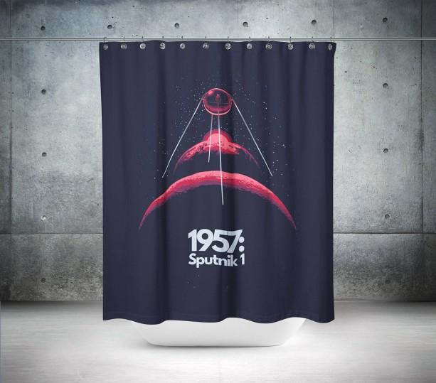 Retro 1957 Sputnik Shower Curtain