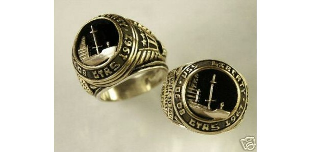 USS liberty Tribute sterling silver signet Ring