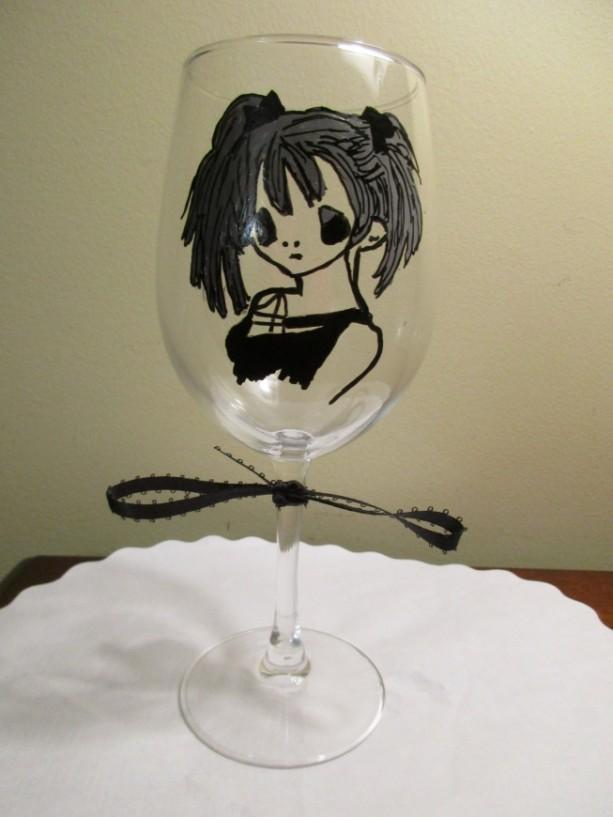 Painted Wine Glass Sailor Moon goes Goth Anime Manga 12 oz.