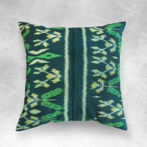 "Handwoven ""Banana Leaves"" Ikat 18 x 18 inches Pillow Case from Java"