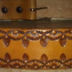 "Leather Belt, Stamped Leather Belt, Handmade Leather Belt, 34"" Leather Belt, Tan Leather Belt"