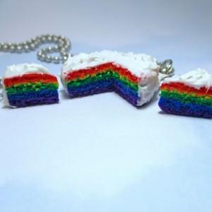 Rainbow Cake Jewelry Set Rainbow Cake Earrings Rainbow Cake Necklace Rainbow Jewelry Cake Earrings Cake Necklace Cake Jewelry Gay Pride LGBT