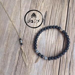 Men's Jewelry Set - Men's Bracelet - Men's Necklace - Men's Beaded Bracelet - Men's Feather Bracelet - Men's Gold Necklace - Men's Jewelry