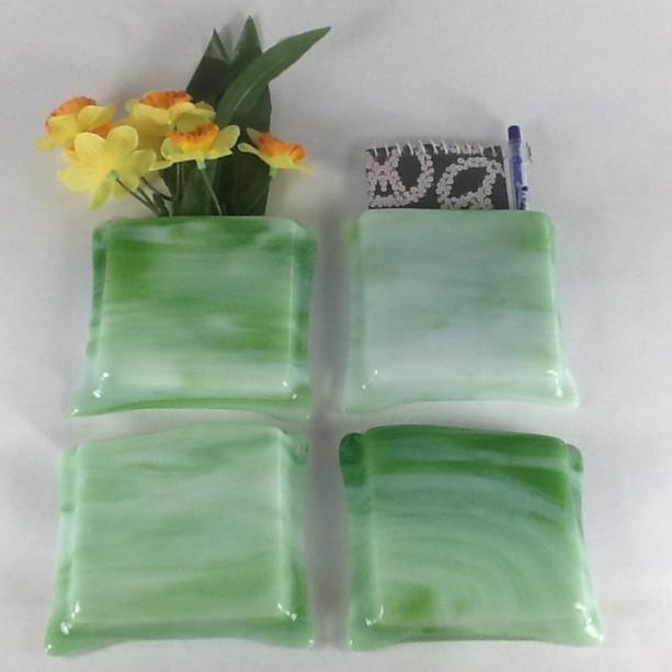 Magnetic glass vase / pen & paper holder - Light green and White streaky