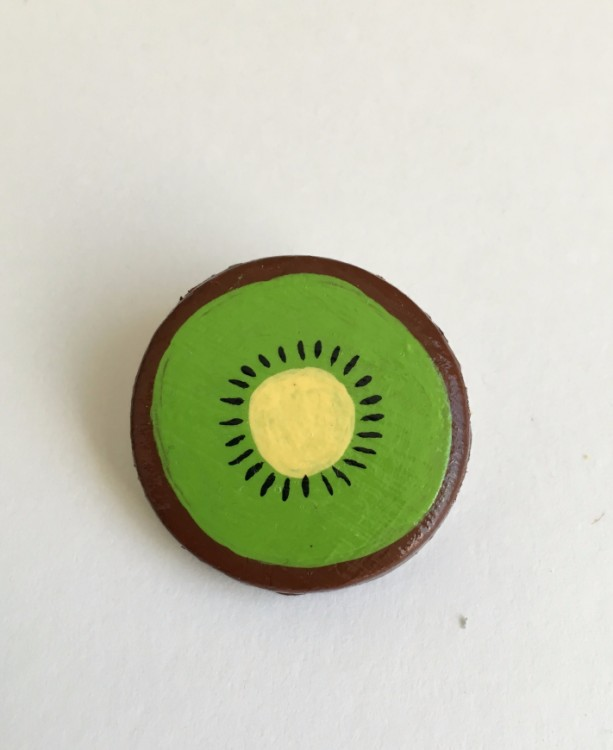 Handmade Brooch Kiwi Pin Clay Fruit Slice Artisan Jewelry accessory