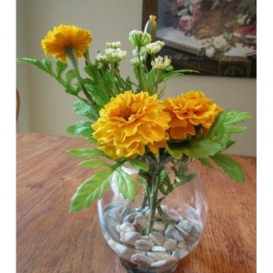 Flower Arrangement Marigold in Acrylic Water