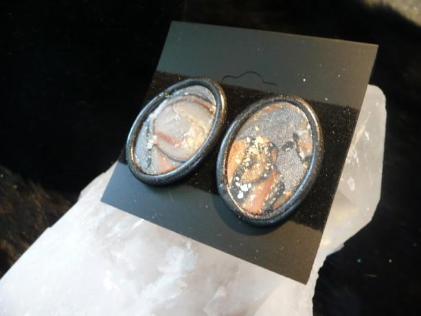 Faux Stone Oval Earrings#242PE