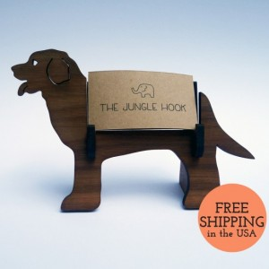 Dog business card holder for desk