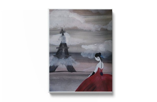 "Hand painted ""Red lady"" print"