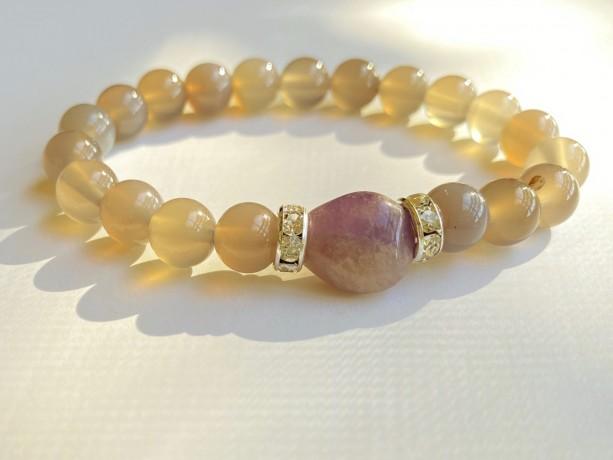 Amethyst & Gray Agate Bracelet