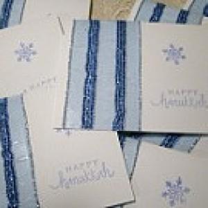 "1/2 PRICE CARD SALE !! Set of 12 hand made ""Happy Hanukkah"" cards #6170"
