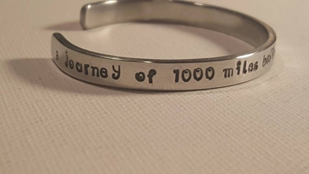 A journey of a thousand miles begins with a single step/personalized aluminum handstamped 12 gauge cuff