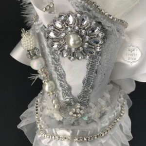 White Bridal Wedding Victorian Steampunk Mini Top Hat Fascinator Headband
