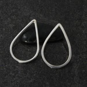 Silver Post Earrings Tear Drop Shape