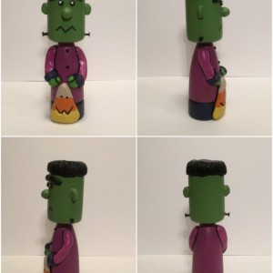 Halloween Frankenstein wood and clay figurines