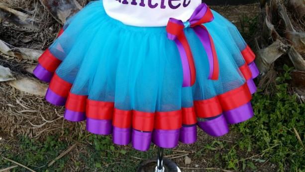 5f6c35ddaa6e ... Personalized Ariel ribbon trimmed tutu set , Little mermaid Ariel tutu,  ribbon trim tutu, ...