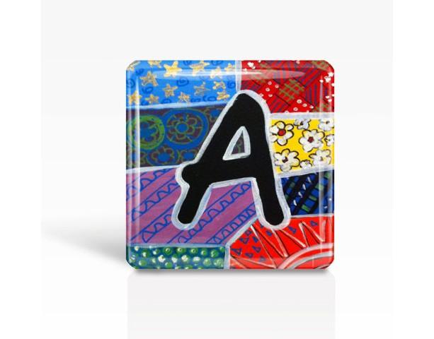 "ALPHABET Letter ""A"" - Glass MAGNET By Artist A.V.Apostle- 2""x 2"""