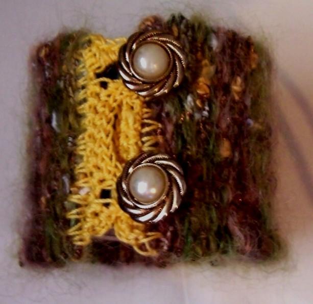 Fuzzy Multicolor Hand Woven Cuff Bracelet