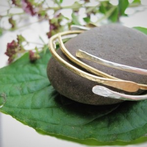 Minimal Silver and Gold Bangles, Set of Stacking Bangle Bracelets, Hammered Bangles, Cuff Bracelet, Open Bangle Bracelet