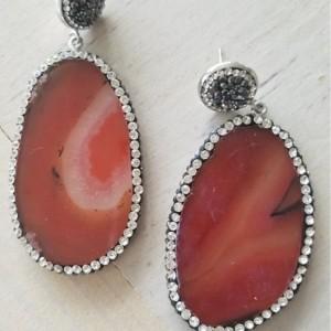Titian Agate Druzy Crystal Devotionaluxe Earrings
