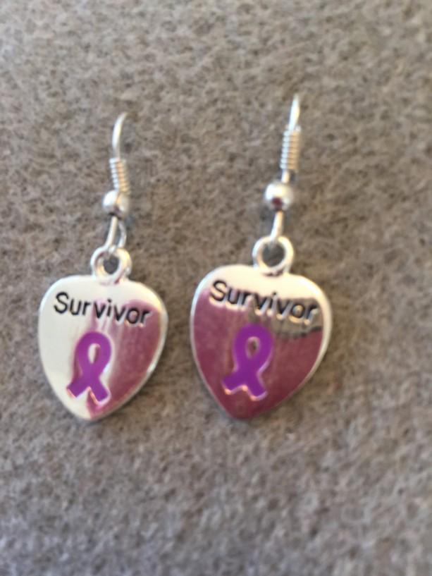 Purple Ribbon Survivor Earring