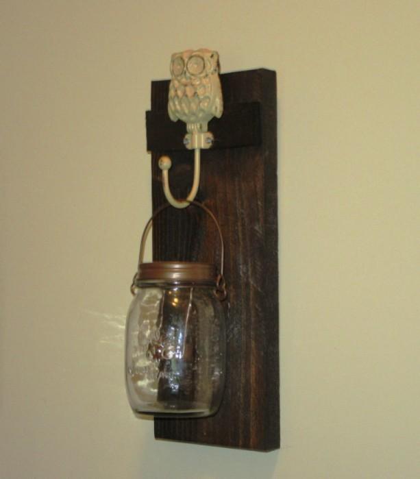Mason Jar Candle Wall Sconces : Rustic Owl Mason Jar Wall Sconce, Mason Jar Candle Holder, Wall aftcra