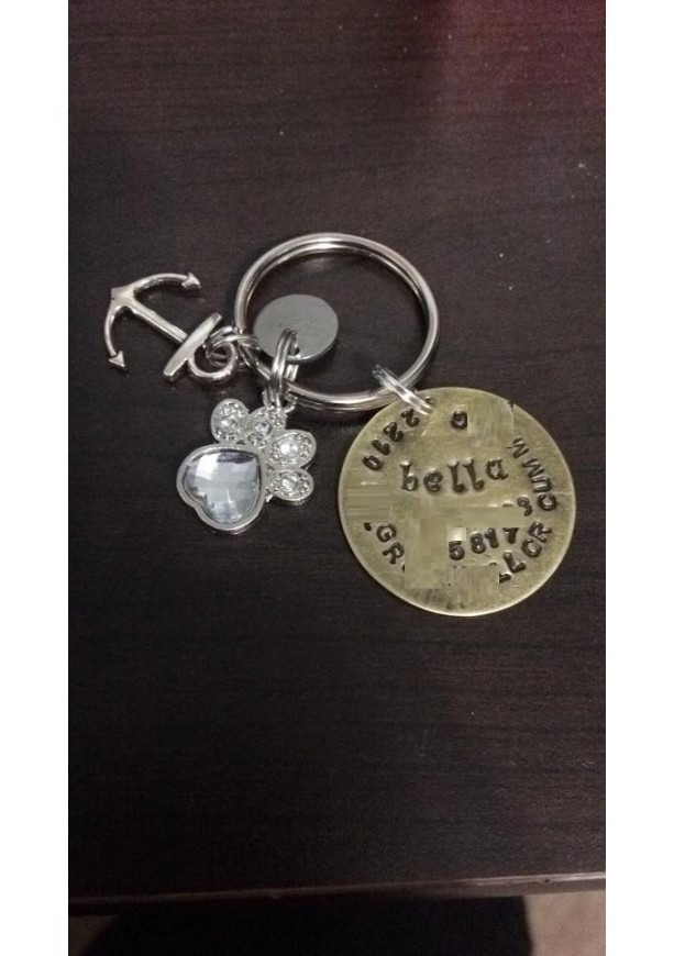 Hand-Stamped Bronze Pet ID Tag