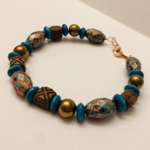 Turquoise and Brown Beaded Bracelet
