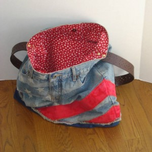 FOURTH OF JULY Hobo Tote Bag Over the Shoulder Bag with Leather Strap in Upcycled Jeans with Magnetic Closure