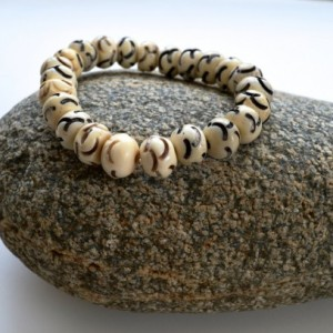 Gift for him, African jewelry, Stack bracelet, Layered bracelet, Beaded  stretch bracelet, Bone  beaded bracelet, White bone bracelet