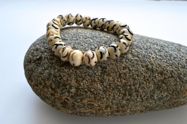Gift for him, African jewelry, Stack bracelet, Layered bracelet, Beaded  stretch bracelet, Bone  beaded bracelet, White bone bracelet