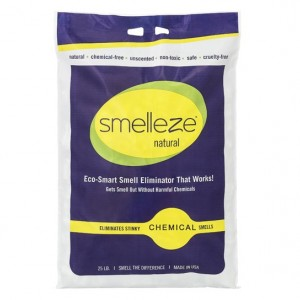 SMELLEZE Natural Chemical Odor Remover Granules: 25 lb. Bag Sprinkle on Odor