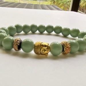 Green & Gold Buddha Bracelet