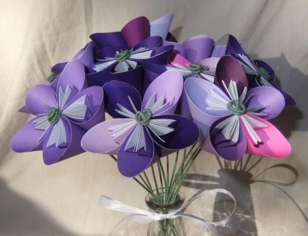 Purple origami flower bouquet aftcra floral purple passion origami flower bouquet in glass vase origami flowers sympathy flowers mightylinksfo