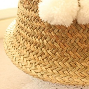 White Pom Poms Double Woven Sea Grass Belly Basket Panier Boule Storage Nursery Beach Picnic Toy Laundry, Dipped, Valentine's Day Gift
