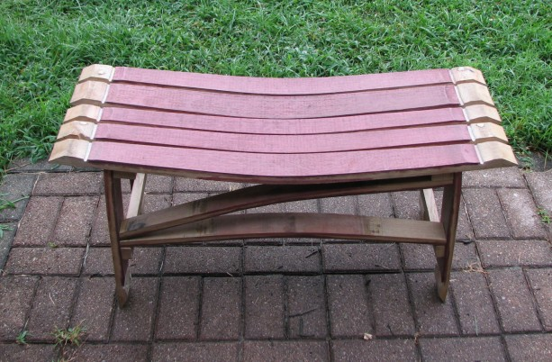 White Oak Wine Barrel Stave Bench, price includes shipping.