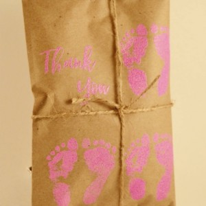 10 Triplet Baby Shower Favors. Pink and Kraft Paper Favors. Fresh Roasted Coffee Favors. Embossed Favors. Handmade. Thank You