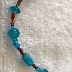 """Waves of Blue handmade beaded necklace 20"""" long"""