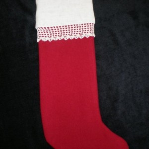 Christmas Stocking with Vintage Linen & Lace