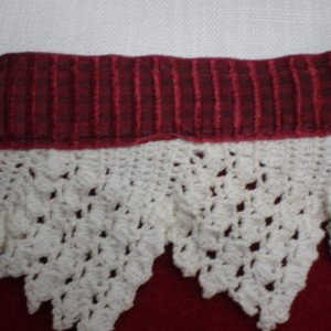 Red Christmas Stocking with Vintage  Linen & Lace