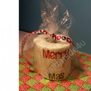 Merry Poop Mas Embroidered Toilet paper. Great gift! Comes gift wrapped!