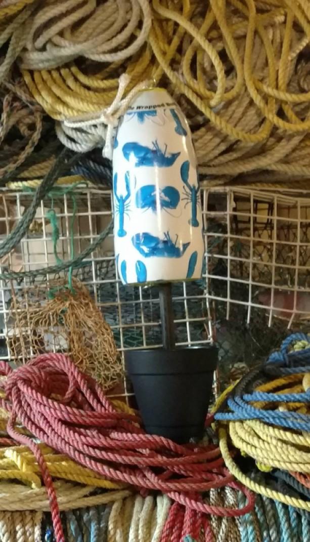 Flower pot Blue lobster! A real Maine lobster buoy
