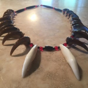 Real bear claw necklace with teeth traditional drilled native american made