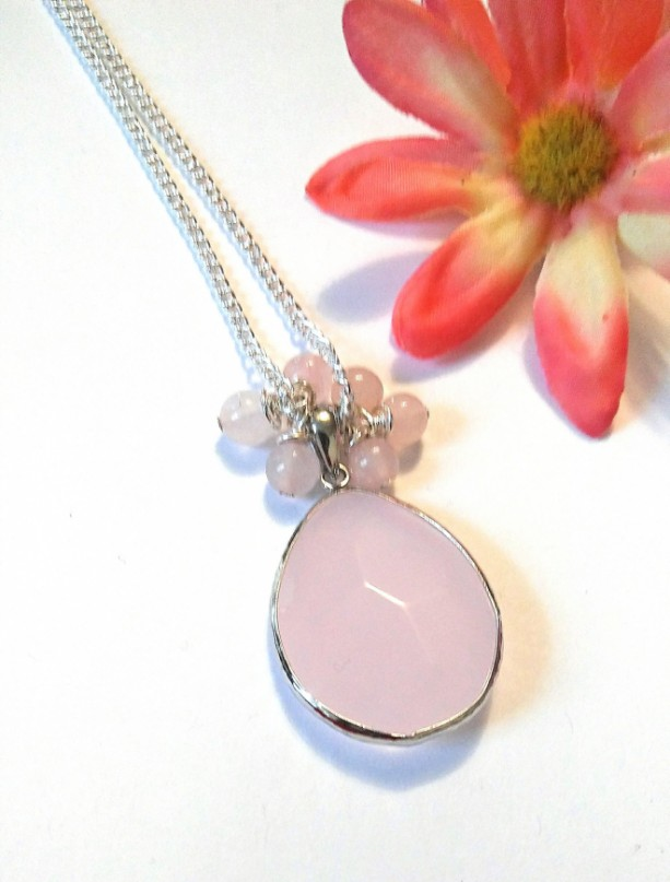 Rose Quartz Necklace, Pink Pendant Necklace, Pink Stone Necklace, Rose Quartz Gemstone, Bridesmaid Gift, Pink Jewelry, Pink Necklace, Gift