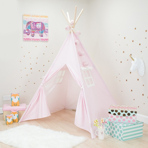 Pink with White Mini Stars Kids Teepee